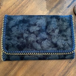 Navy Blue Burnout Velvet Bag